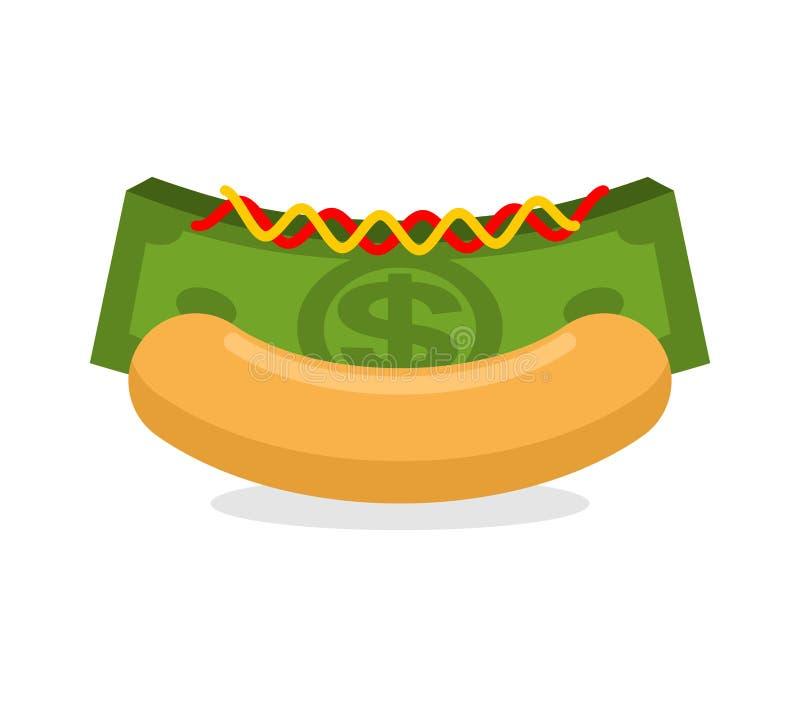 Χοτ-ντογκ χρημάτων Μετρητά κουλουριών και σωρών Οικονομικό γρήγορο φαγητό Πρωί ελεύθερη απεικόνιση δικαιώματος