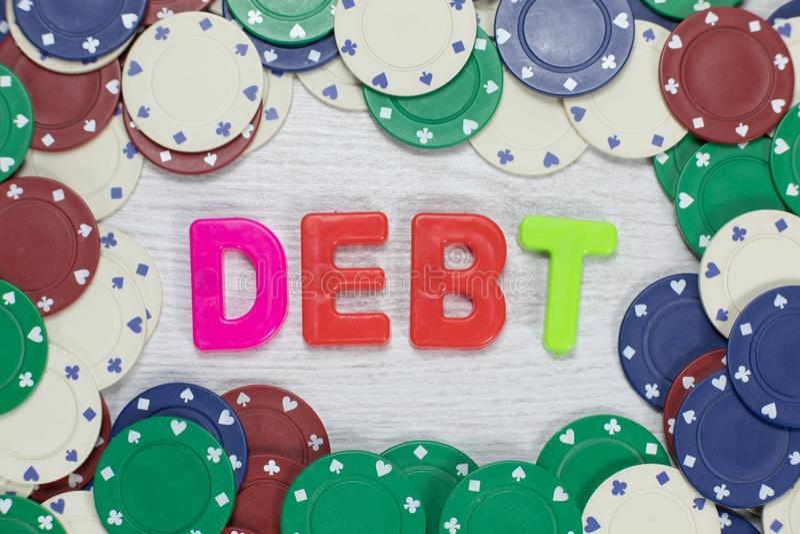 Χρέος ως αποτέλεσμα της έννοιας παιχνιδιού στοκ φωτογραφίες