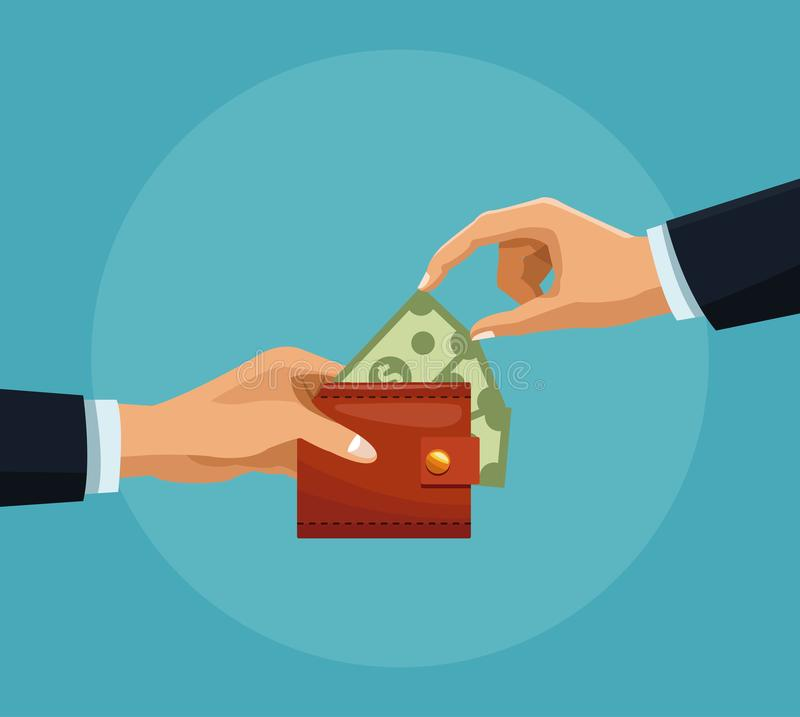 Χρήματα αρπαγής χεριών από το πορτοφόλι ελεύθερη απεικόνιση δικαιώματος