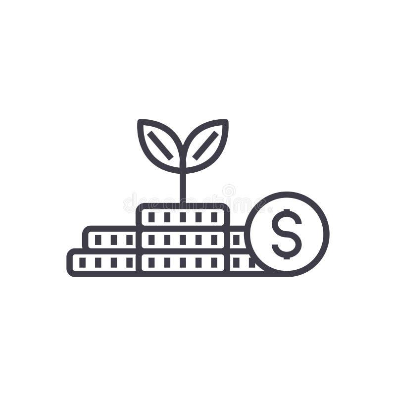 Χρήματα αύξησης, επένδυση, διανυσματικό εικονίδιο γραμμών σχεδίων χρηματοδότησης, σημάδι, απεικόνιση στο υπόβαθρο, editable κτυπή ελεύθερη απεικόνιση δικαιώματος