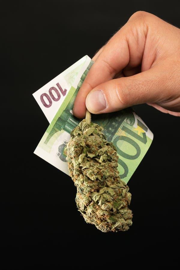 Χρήματα εκμετάλλευσης ατόμων και οφθαλμός μαριχουάνα στοκ φωτογραφία