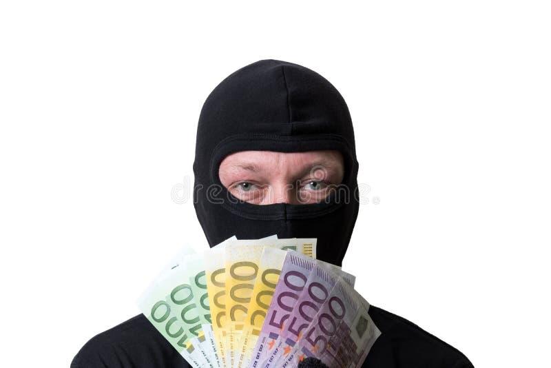 Χρήματα εκμετάλλευσης κλεφτών που απομονώνονται στο άσπρο υπόβαθρο στοκ φωτογραφία