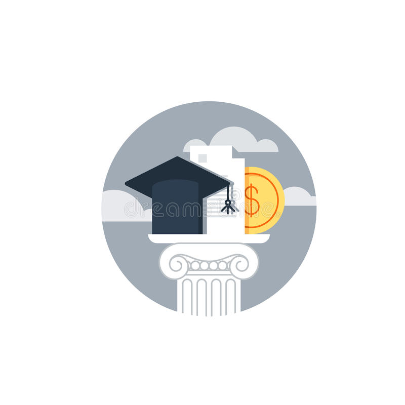 Χρήματα εκπαίδευσης, εκπαίδευση χρηματοδότησης, υποτροφία διανυσματική απεικόνιση