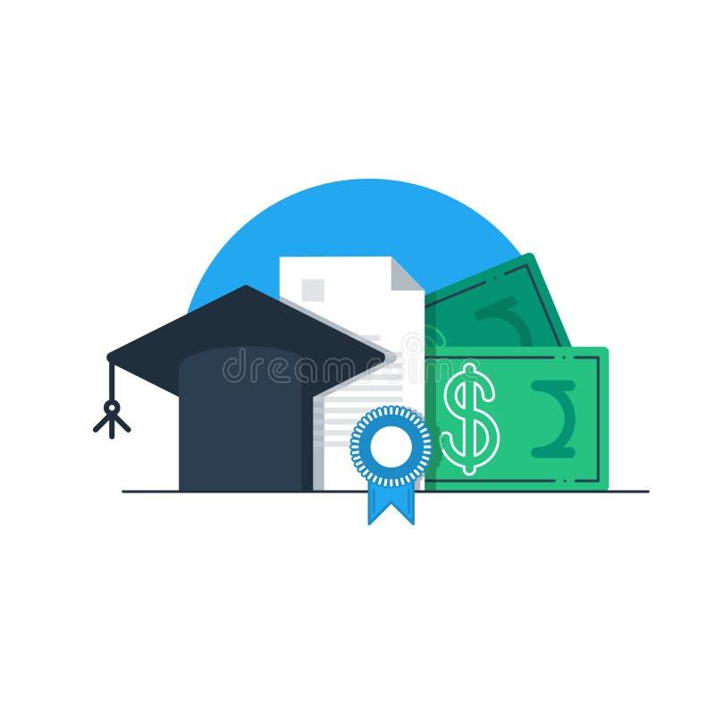 Χρήματα εκπαίδευσης, εκπαίδευση χρηματοδότησης, υποτροφία ελεύθερη απεικόνιση δικαιώματος