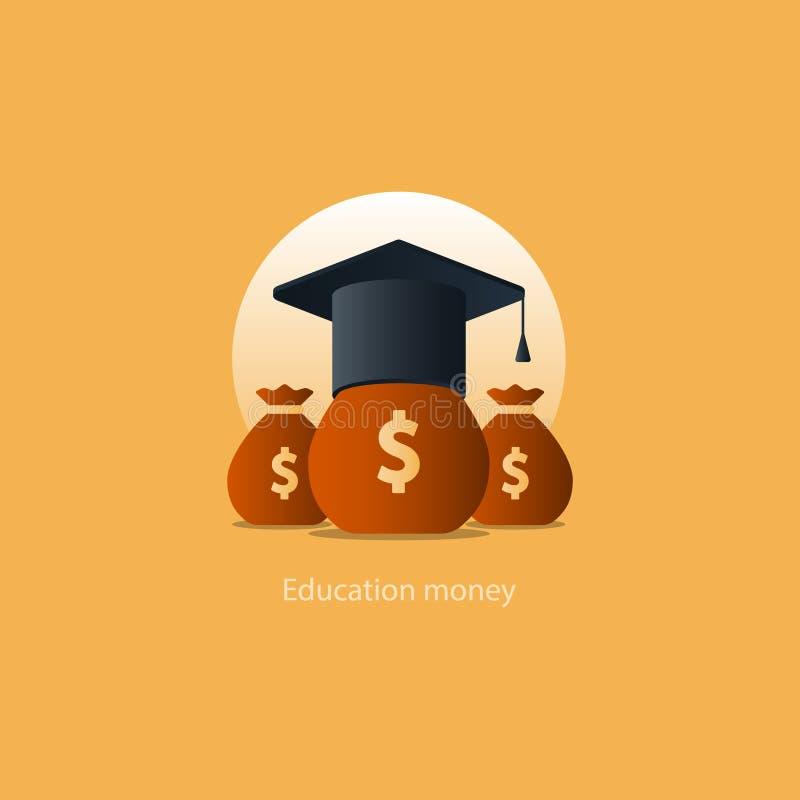 Χρήματα επιχορήγησης υποτροφιών, εικονίδιο διδάκτρων εκπαίδευσης, κόστος πληρωμής ελεύθερη απεικόνιση δικαιώματος