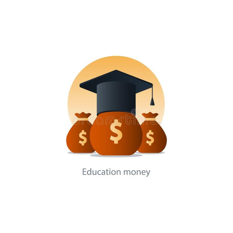 Χρήματα επιχορήγησης υποτροφιών, εικονίδιο διδάκτρων εκπαίδευσης, κόστος πληρωμής διανυσματική απεικόνιση