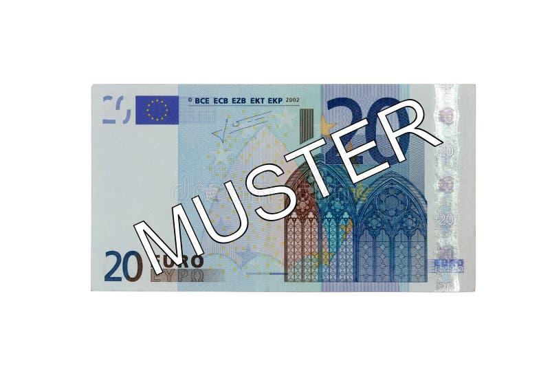 Χρήματα - (20) ευρο- μέτωπο λογαριασμών είκοσι με τη γερμανική συγκέντρωση εγγραφής (δείγμα) στοκ εικόνες