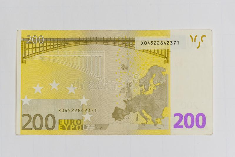 Χρήματα 200 ευρο- τραπεζογραμμάτιο απομονωμένος στοκ φωτογραφίες με δικαίωμα ελεύθερης χρήσης