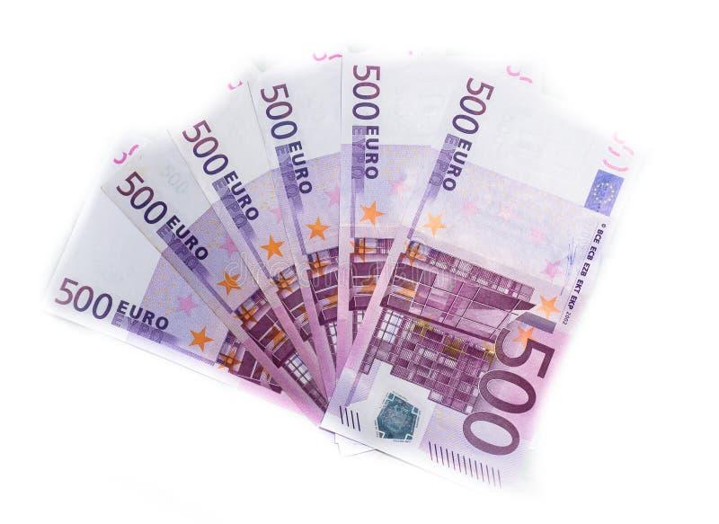 χρήματα 500 ευρο- τραπεζογραμματίων λογαριασμών ευρο- ευρωπαϊκή ένωση νομίσματο&sig στοκ εικόνα