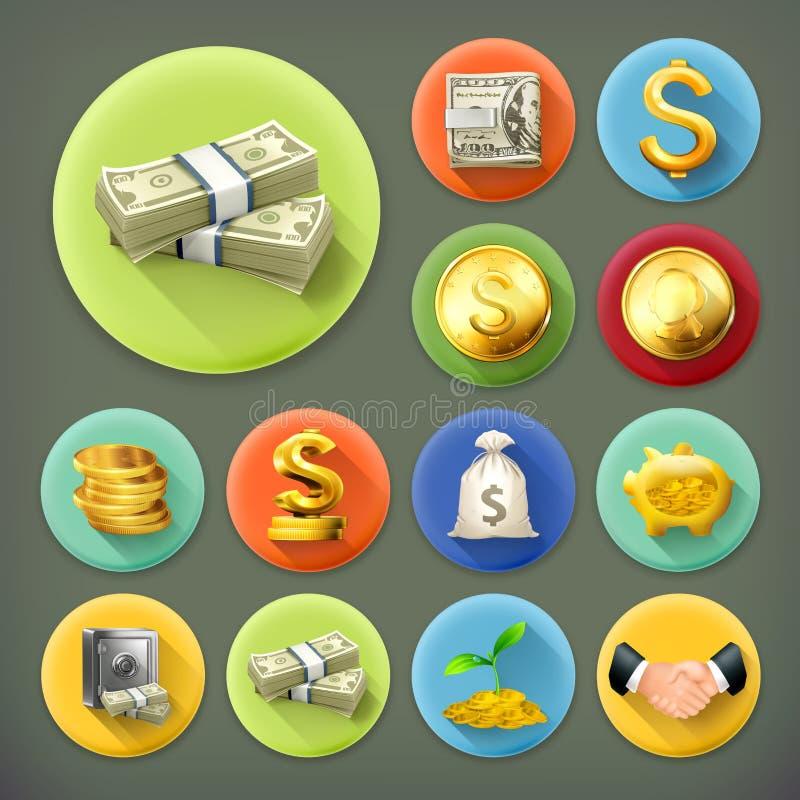 Χρήματα και νομίσματα, απεικόνιση επιχειρήσεων και χρηματοδότησης απεικόνιση αποθεμάτων