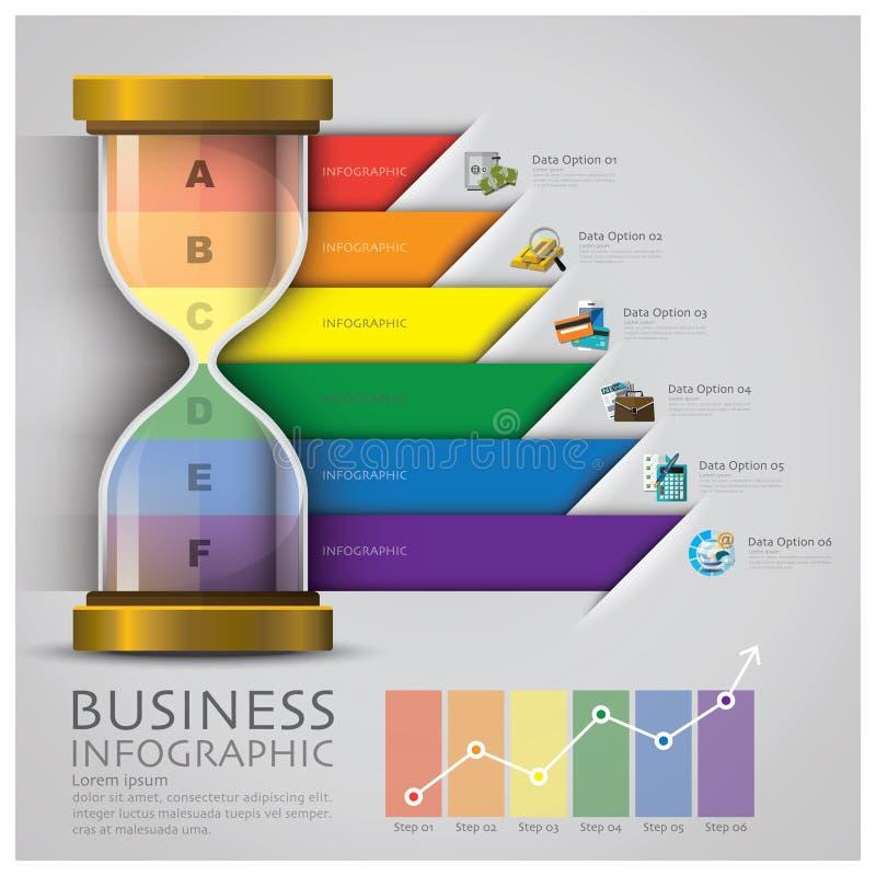 Χρήματα και οικονομική επιχείρηση Infographic Sandglass διανυσματική απεικόνιση
