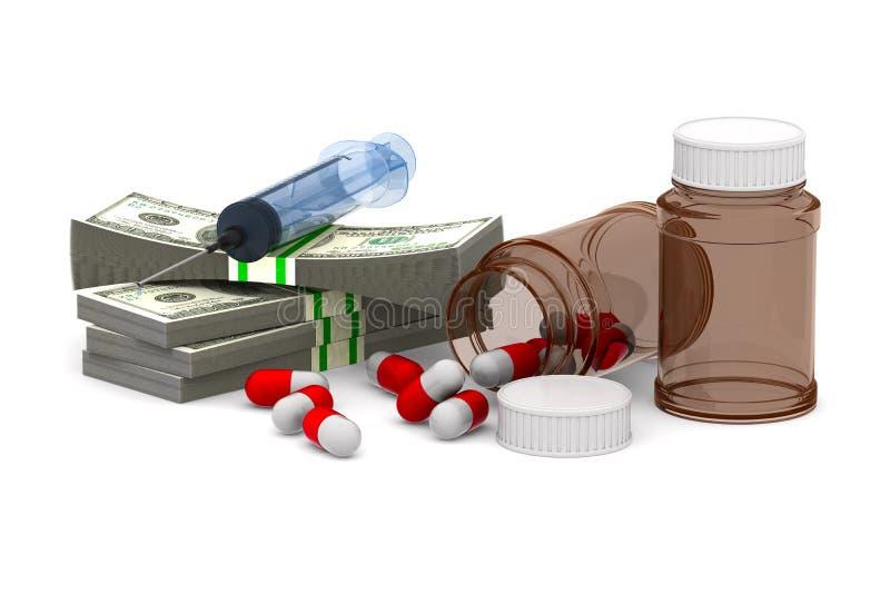 Χρήματα και φάρμακα στο άσπρο υπόβαθρο r στοκ φωτογραφία με δικαίωμα ελεύθερης χρήσης