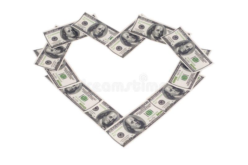 χρήματα καρδιών στοκ εικόνες