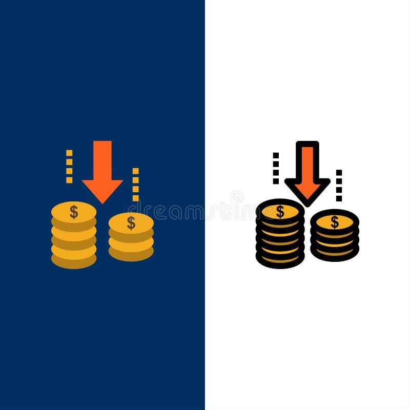 Χρήματα, μεταφορά, Ταμείο, εικονίδια ανάλυσης Επίπεδος και γραμμή γέμισε το καθορισμένο διανυσματικό μπλε υπόβαθρο εικονιδίων διανυσματική απεικόνιση