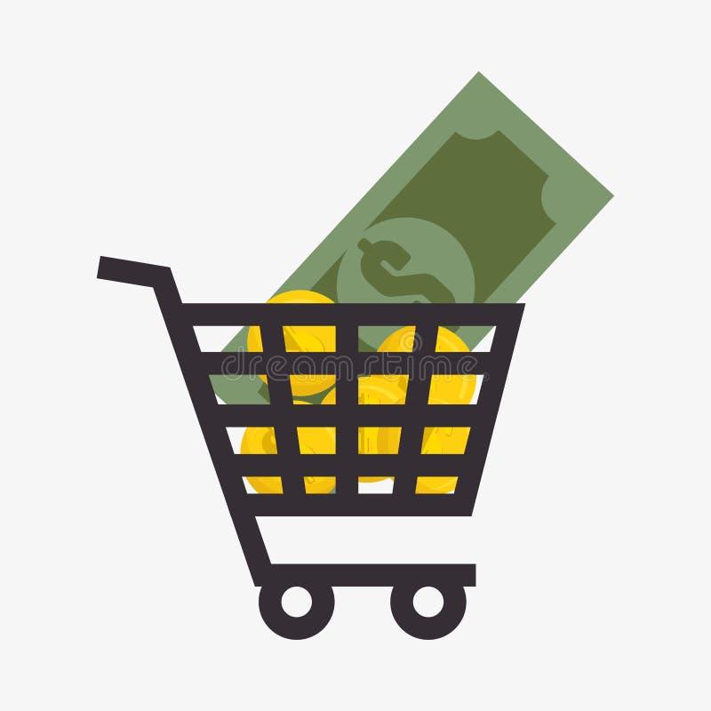 χρήματα νομισμάτων στο απομονωμένο εικονίδιο κάρρων αγορές διανυσματική απεικόνιση
