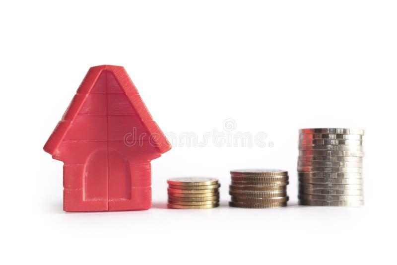 Χρήματα νομισμάτων σωρών έννοιας και ανάπτυξης οικογενειακών κατοικιών επιχειρησιακών διαφημίσεων για την εγχώρια χρηματοδότηση κ στοκ εικόνα