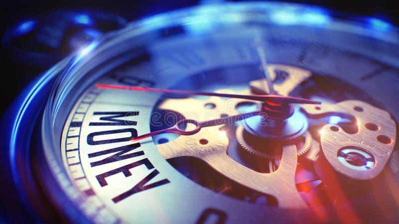 Χρήματα - που διατυπώνουν στο εκλεκτής ποιότητας ρολόι τσεπών τρισδιάστατος στοκ φωτογραφία