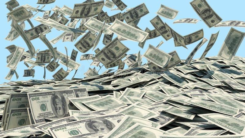 Χρήματα που πέφτουν από τον ουρανό σε έναν σωρό στοκ εικόνα