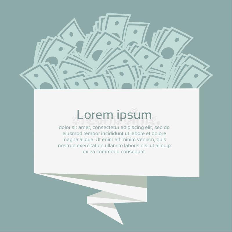 Χρήματα στο έμβλημα origami χρυσή ιδιοκτησία βασικών πλήκτρων επιχειρησιακής έννοιας που φθάνει στον ουρανό επίσης corel σύρετε τ διανυσματική απεικόνιση