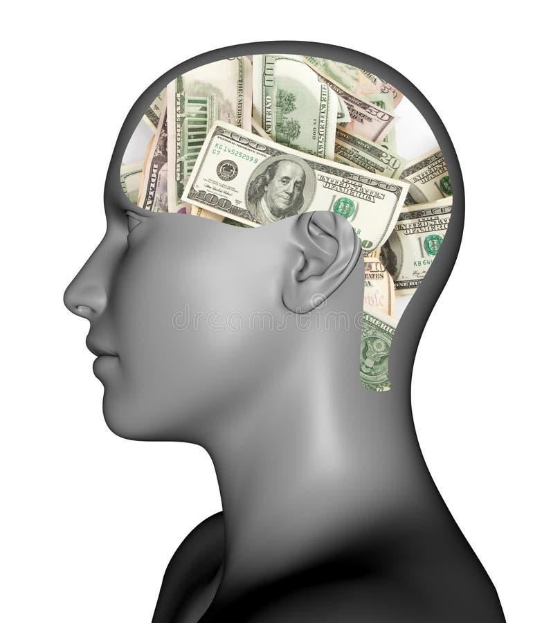 Χρήματα στο μυαλό ελεύθερη απεικόνιση δικαιώματος