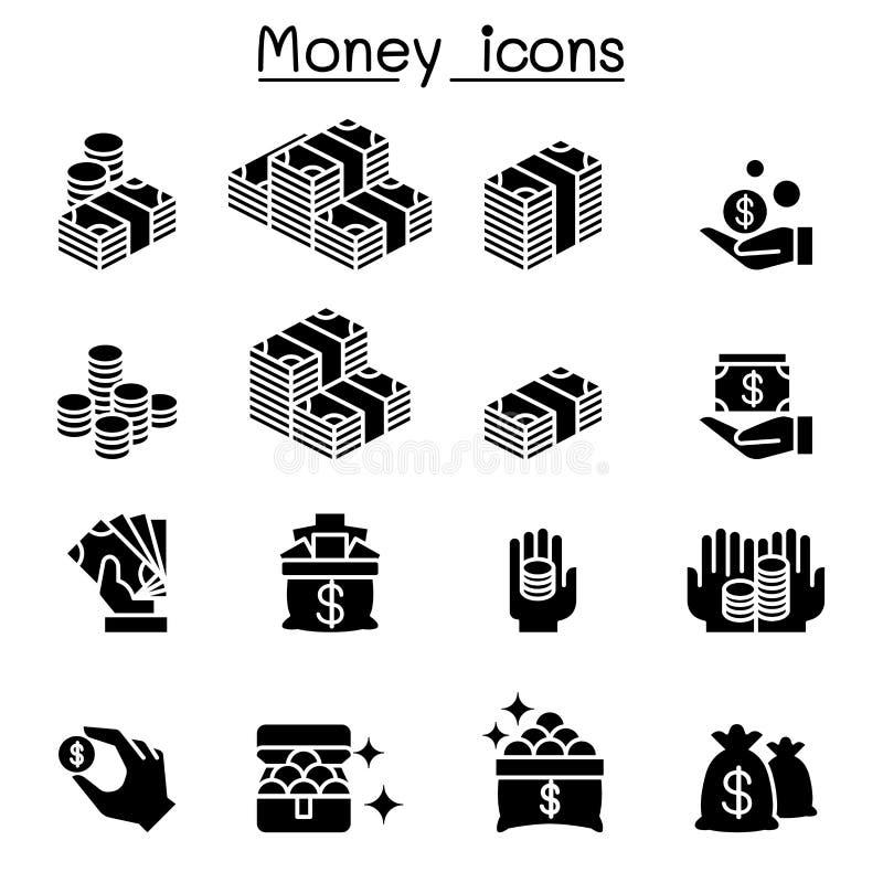 Χρήματα & σύνολο εικονιδίων επένδυσης διανυσματική απεικόνιση