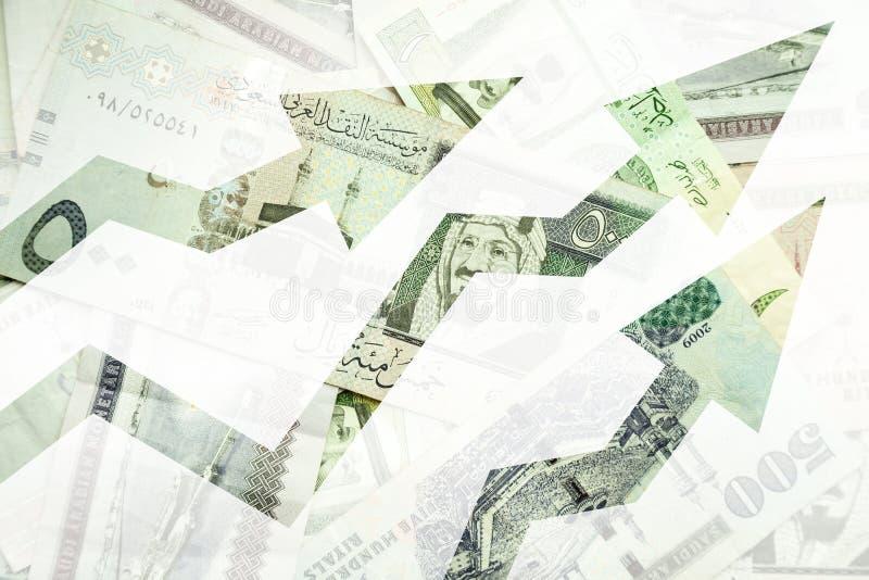 Χρήματα της Σαουδικής Αραβίας με την ανάπτυξη των βελών τάσεων διανυσματική απεικόνιση