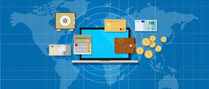 Χρήματα τραπεζικής εφαρμογής Διαδικτύου ελεύθερη απεικόνιση δικαιώματος