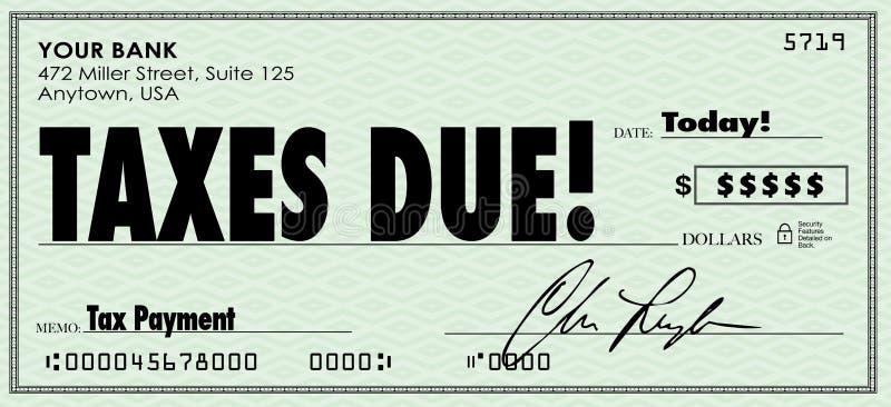 Χρήματα φορολογικού τα οφειλόμενα ελέγχου στέλνουν το εισοδηματικό εισόδημα πληρωμής ελεύθερη απεικόνιση δικαιώματος