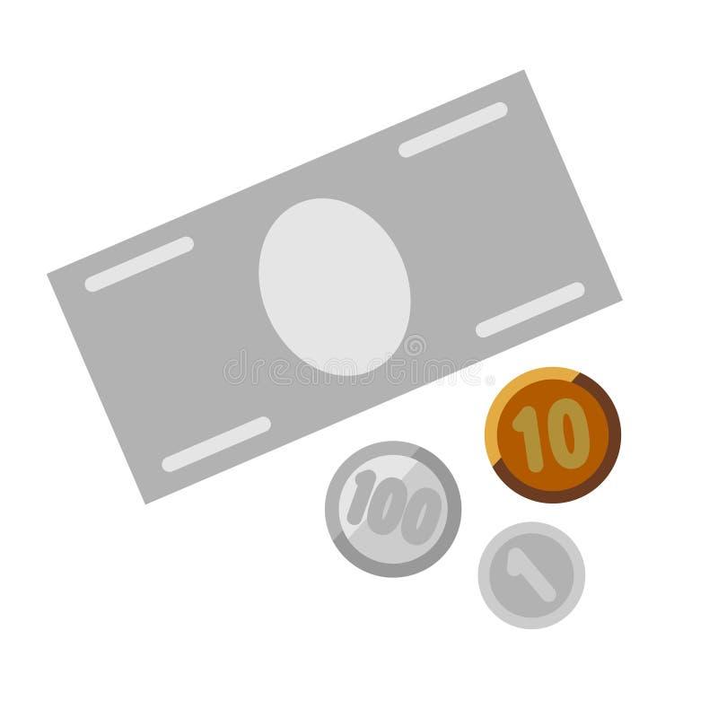 Χρήματα, χαρτονόμισμα και νομίσματα απεικόνιση αποθεμάτων