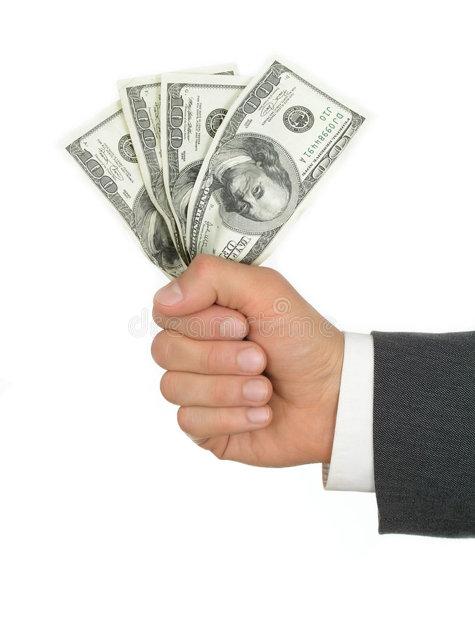 χρήματα χουφτών στοκ φωτογραφία