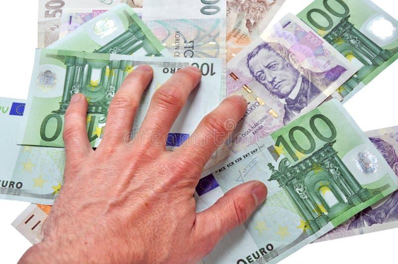 χρήματα χρηματοδότησης ελέγχου κάτω στοκ εικόνα