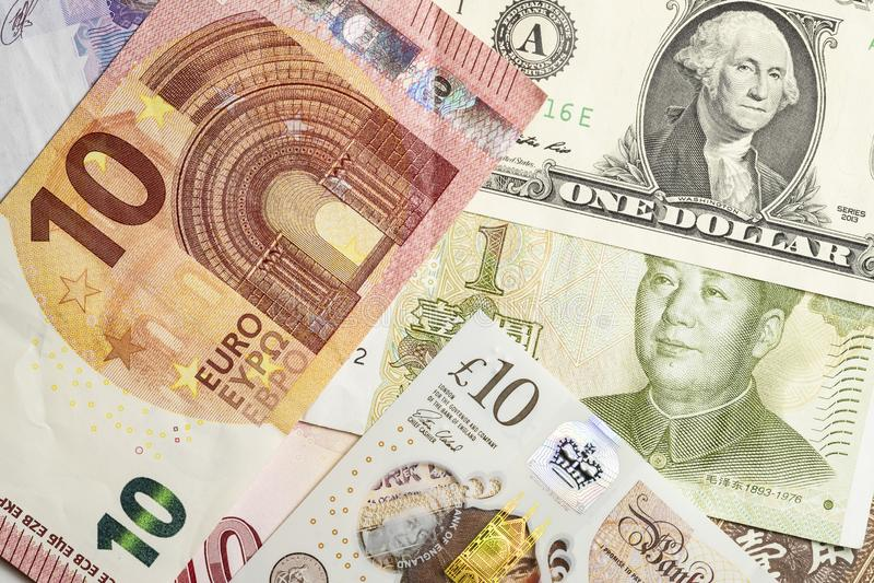 Χρήματα Forex, τραπεζογραμμάτια παγκόσμιου νομίσματος συμπεριλαμβανομένου του ευρώ, δολάριο, yuan, λίβρα στοκ εικόνες