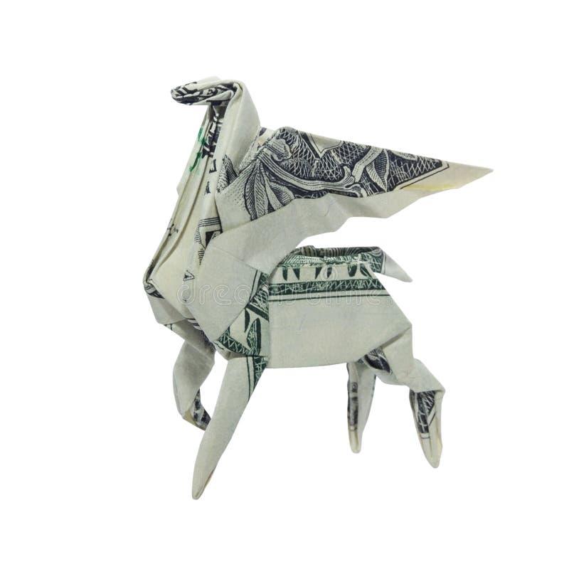 Χρήματα Origami PEGASUS που διπλώνεται με πραγματικό το δολάριο Μπιλ που απομονώνεται στο άσπρο υπόβαθρο στοκ εικόνα με δικαίωμα ελεύθερης χρήσης