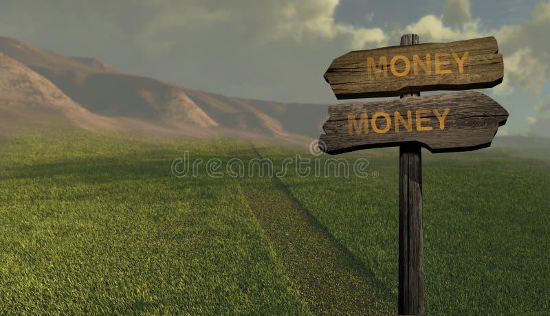 Χρήμα-χρήματα κατεύθυνσης σημαδιών απεικόνιση αποθεμάτων