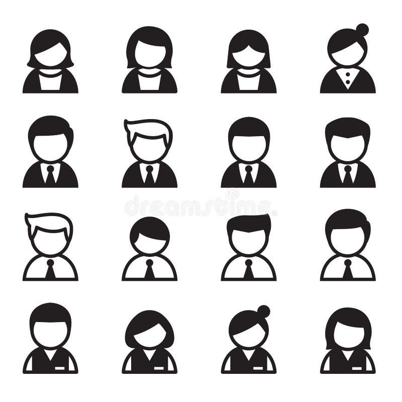 Χρήστης, άνδρας, γυναίκα, σύνολο εικονιδίων επιχειρηματιών ελεύθερη απεικόνιση δικαιώματος