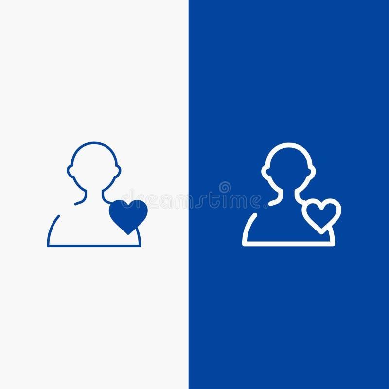 Χρήστης, αγάπη, γραμμή καρδιών και στερεά γραμμή εμβλημάτων εικονιδίων Glyph μπλε και στερεό μπλε έμβλημα εικονιδίων Glyph διανυσματική απεικόνιση