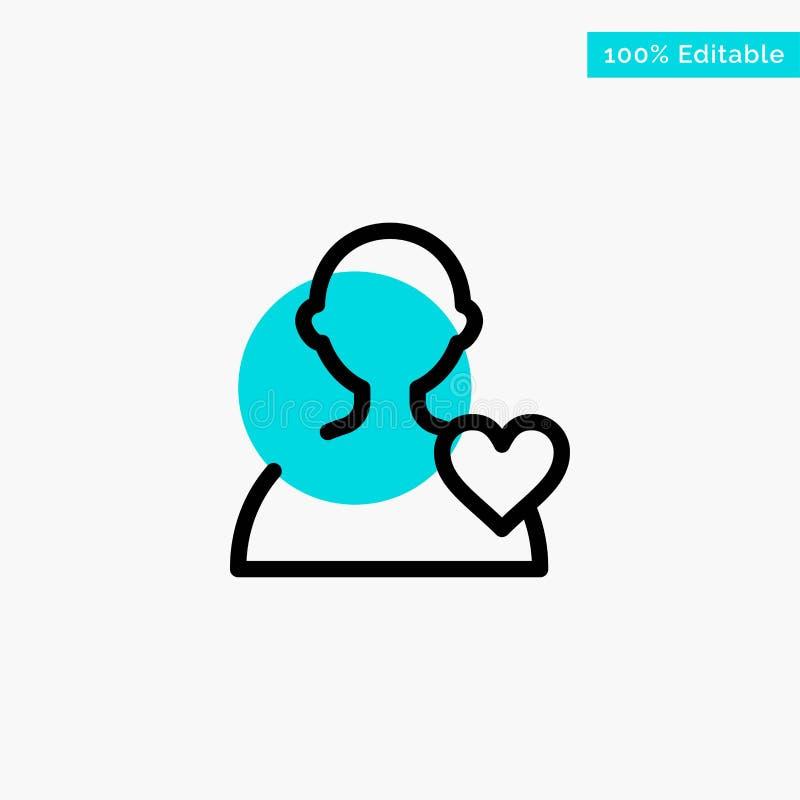 Χρήστης, αγάπη, διανυσματικό εικονίδιο σημείου κυριώτερων κύκλων καρδιών τυρκουάζ απεικόνιση αποθεμάτων