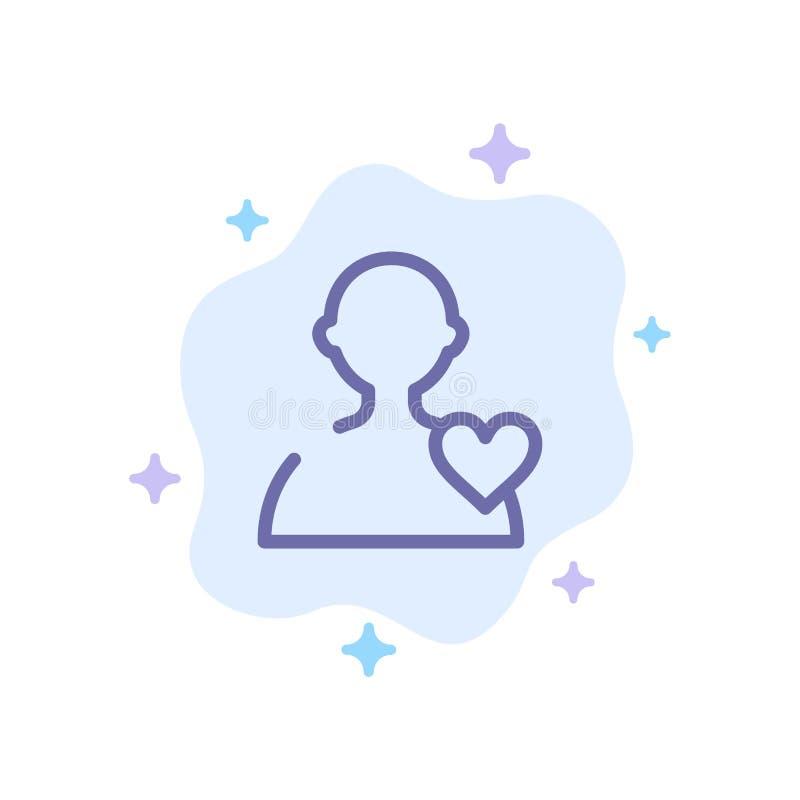 Χρήστης, αγάπη, μπλε εικονίδιο καρδιών στο αφηρημένο υπόβαθρο σύννεφων απεικόνιση αποθεμάτων