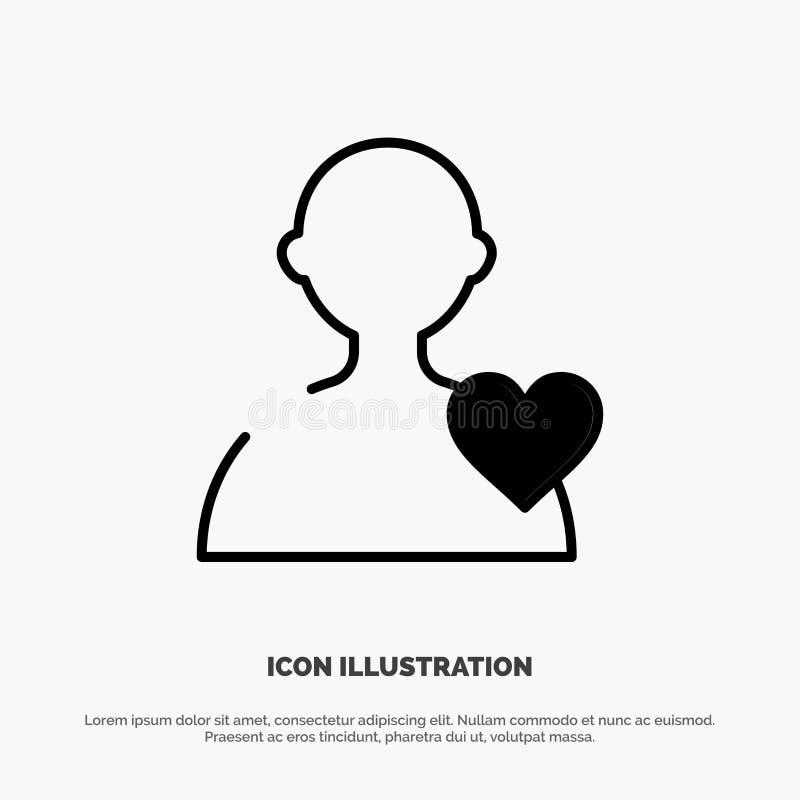 Χρήστης, αγάπη, στερεό διάνυσμα εικονιδίων Glyph καρδιών ελεύθερη απεικόνιση δικαιώματος
