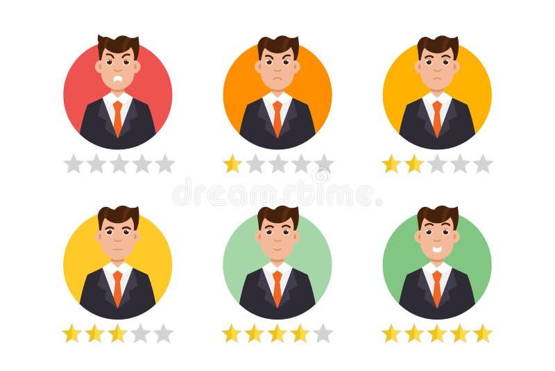 Χρήστης ανατροφοδότησης Ο πελάτης αναθεωρεί την έννοια διάνυσμα διανυσματική απεικόνιση