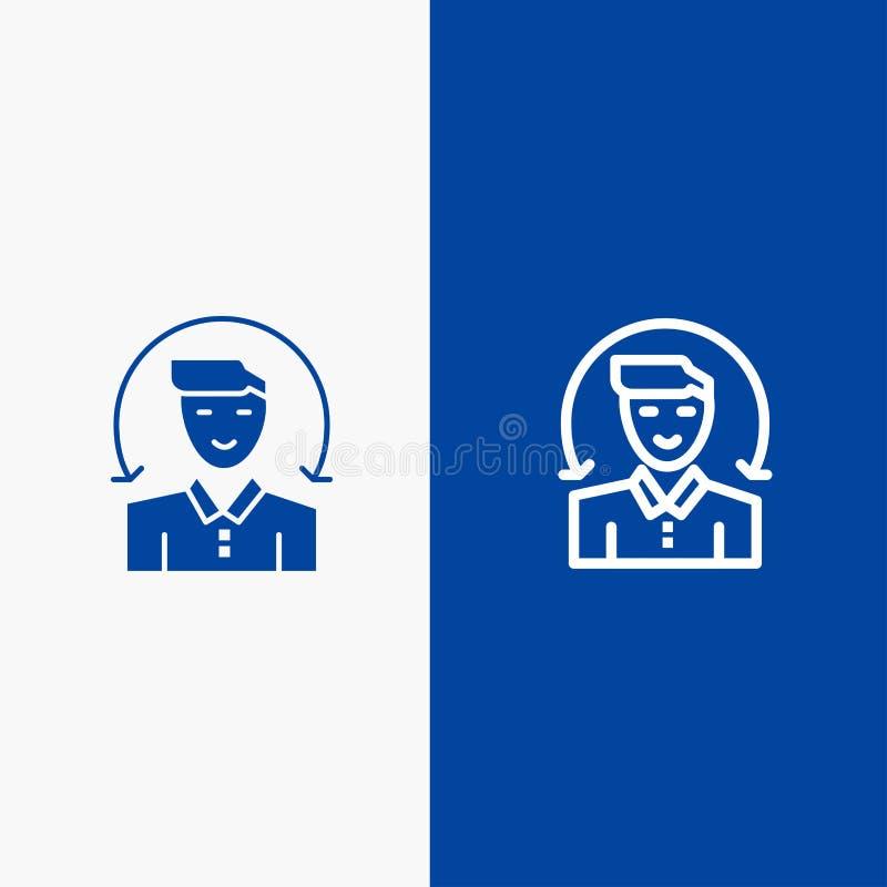 Χρήστης, αρσενικό, πελάτης, γραμμή υπηρεσιών και στερεό μπλε έμβλημα εικονιδίων Glyph διανυσματική απεικόνιση