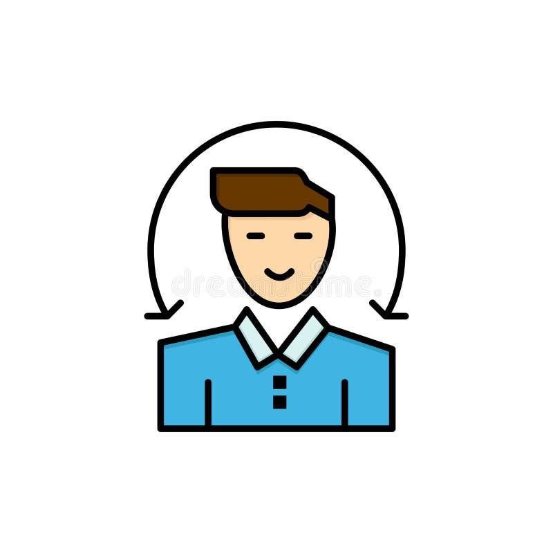 Χρήστης, αρσενικό, πελάτης, επίπεδο εικονίδιο χρώματος υπηρεσιών Διανυσματικό πρότυπο εμβλημάτων εικονιδίων διανυσματική απεικόνιση