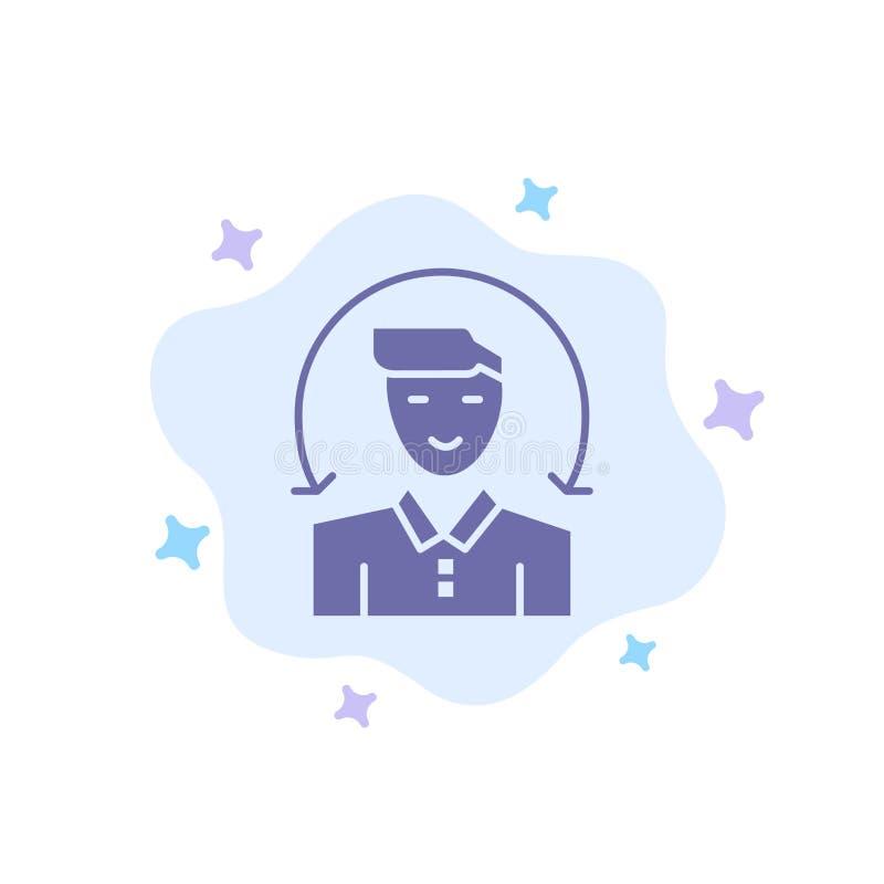 Χρήστης, αρσενικό, πελάτης, μπλε εικονίδιο υπηρεσιών στο αφηρημένο υπόβαθρο σύννεφων απεικόνιση αποθεμάτων