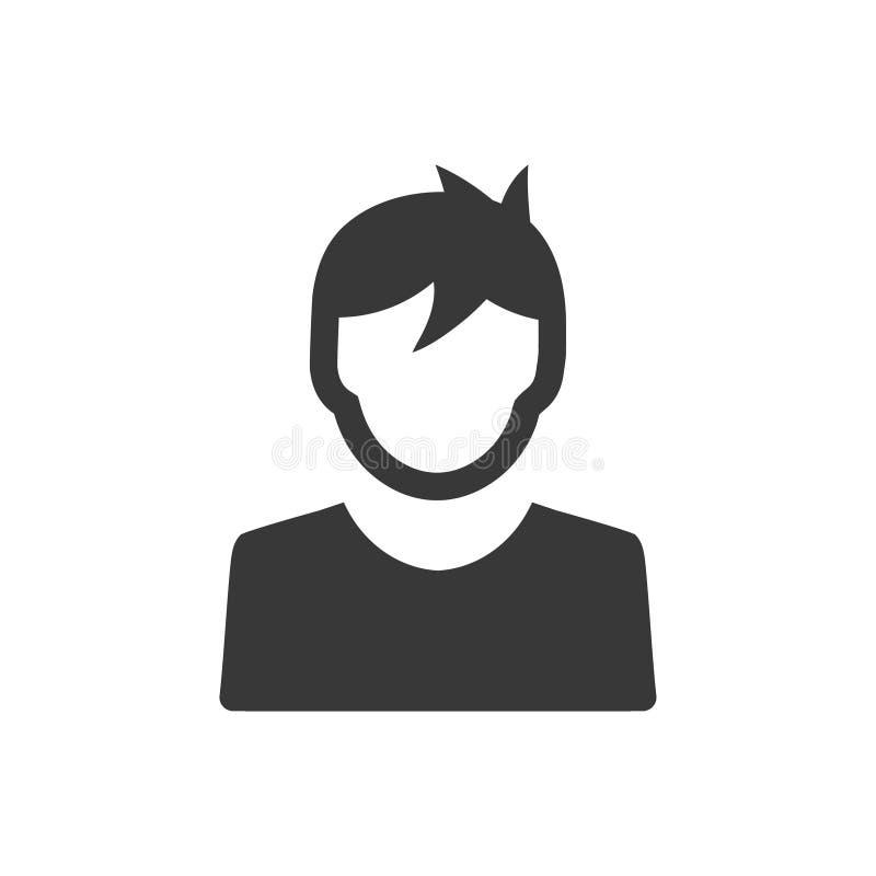 Χρήστης, εικονίδιο αγοριών διανυσματική απεικόνιση