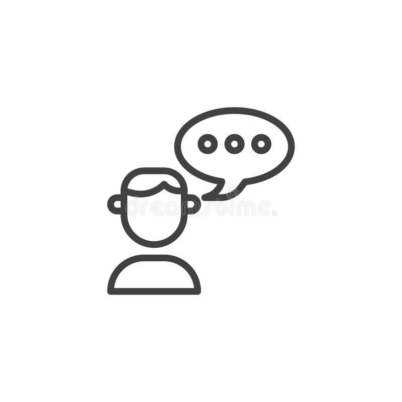 Χρήστης και εικονίδιο γραμμών λεκτικών φυσαλίδων απεικόνιση αποθεμάτων