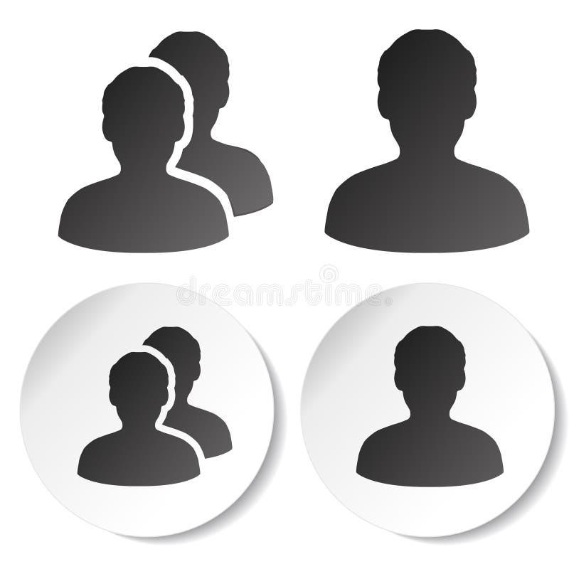 Χρήστης και κοινοτικά μαύρα σύμβολα Απλή σκιαγραφία ατόμων Ετικέτες σχεδιαγράμματος στην άσπρη στρογγυλή αυτοκόλλητη ετικέττα Σημ ελεύθερη απεικόνιση δικαιώματος