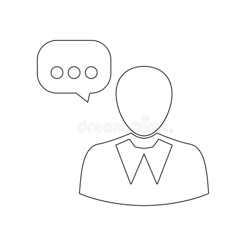 Χρήστης και λεκτική φυσαλίδα, ομιλούν εικονίδιο προσώπων Στοιχείο της ωρ. για το κινητό εικονίδιο έννοιας και Ιστού apps r ελεύθερη απεικόνιση δικαιώματος