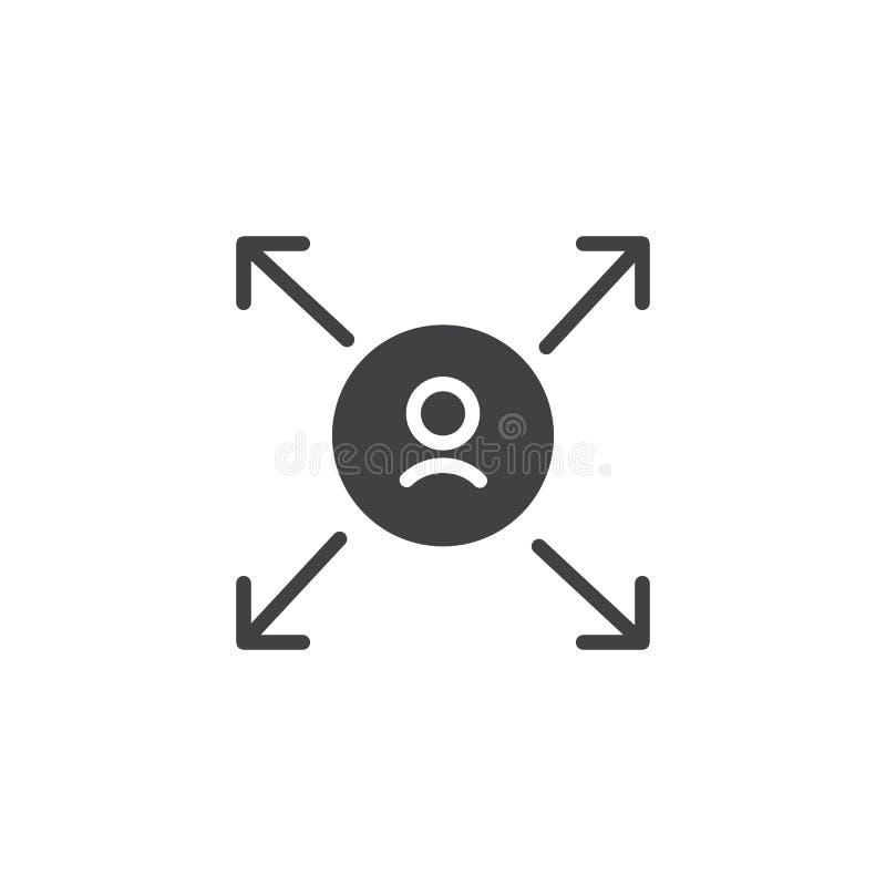 Χρήστης με το διανυσματικό εικονίδιο βελών απεικόνιση αποθεμάτων