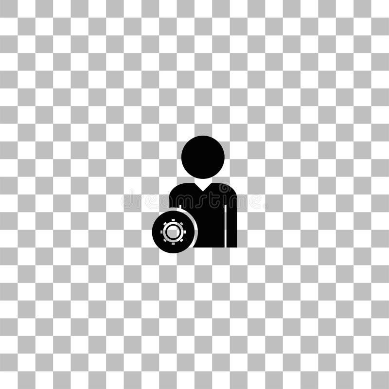 Χρήστης με το εικονίδιο εργαλείων επίπεδο διανυσματική απεικόνιση