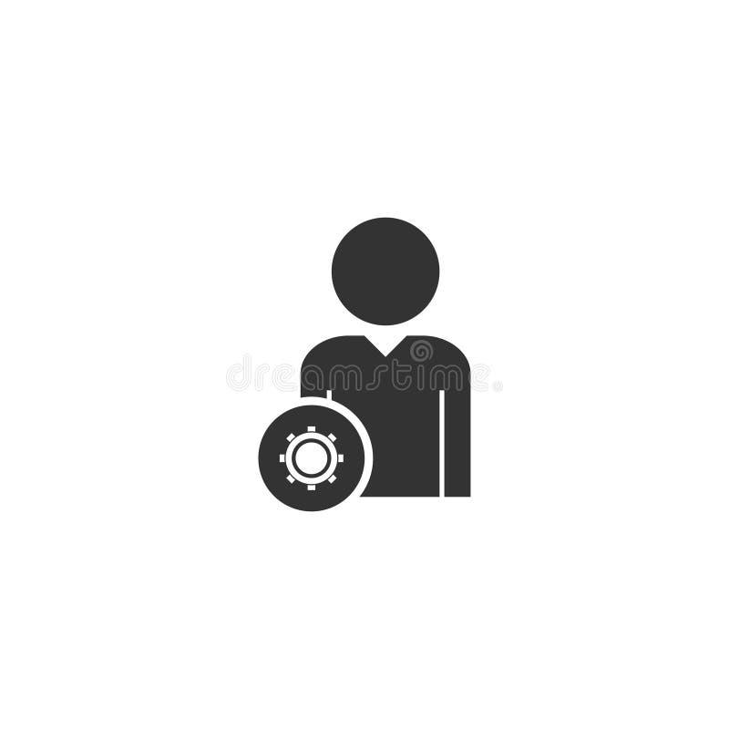 Χρήστης με το εικονίδιο εργαλείων επίπεδο ελεύθερη απεικόνιση δικαιώματος